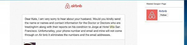 First Contact from Hotel Villa San Francisco Owner