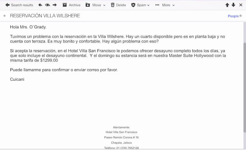 Overbooking & Room Changes @ Hotel Villa San Francisco